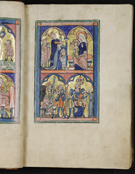 Adoration of the Magi and Massacre of the Innocents, in the Huth Psalter